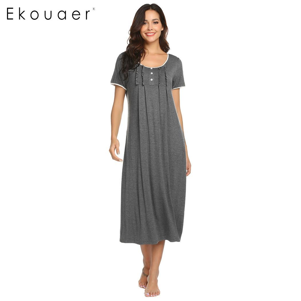 Ekouaer Nightdress   Sleepshirts     Nightgown   Women Mid Calf Ruffle Short Sleeve Round Neck Night Dress Spring Summer Nightwear