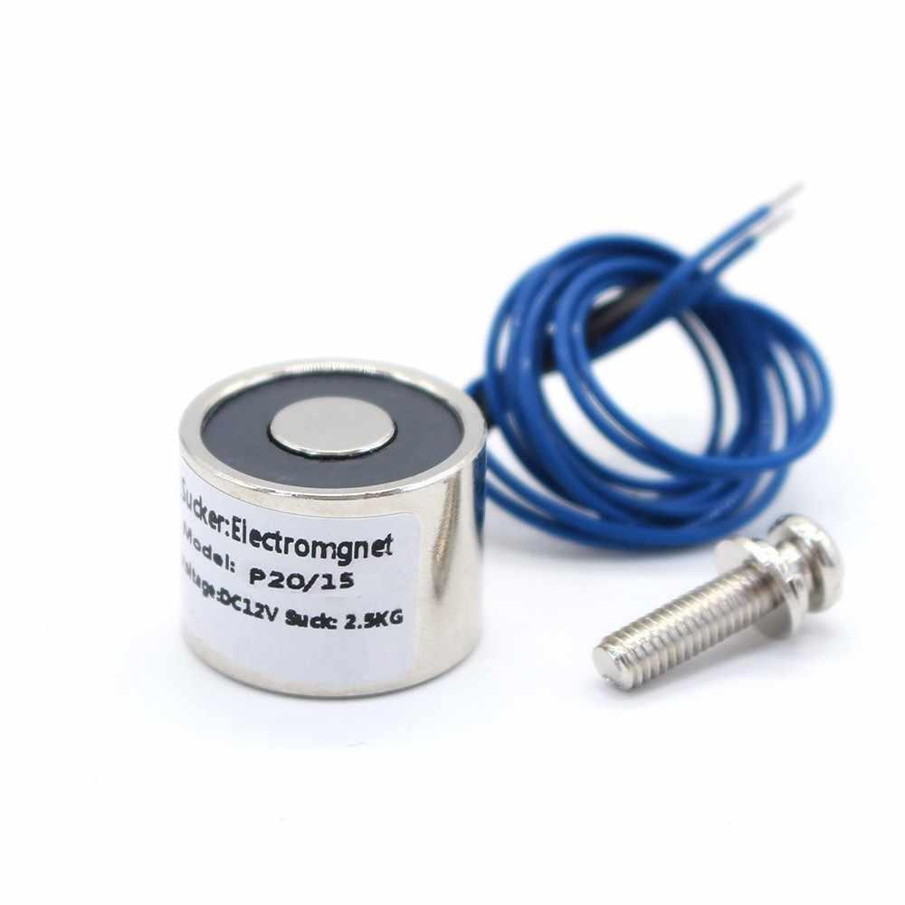 20*15 ミリメートル吸引 2.5 キロ 25N DC 5 V/12 V/24 V ミニソレノイド電磁石電動昇降電気強力なホルダーカップ DIY 12 v