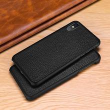For iPhone X Litchi Patterned Cowhide Cover for iPhone 6 6s 7 8 Plus XS XR XS Max 11 Pro Max Anti knock Genuine Leather Case