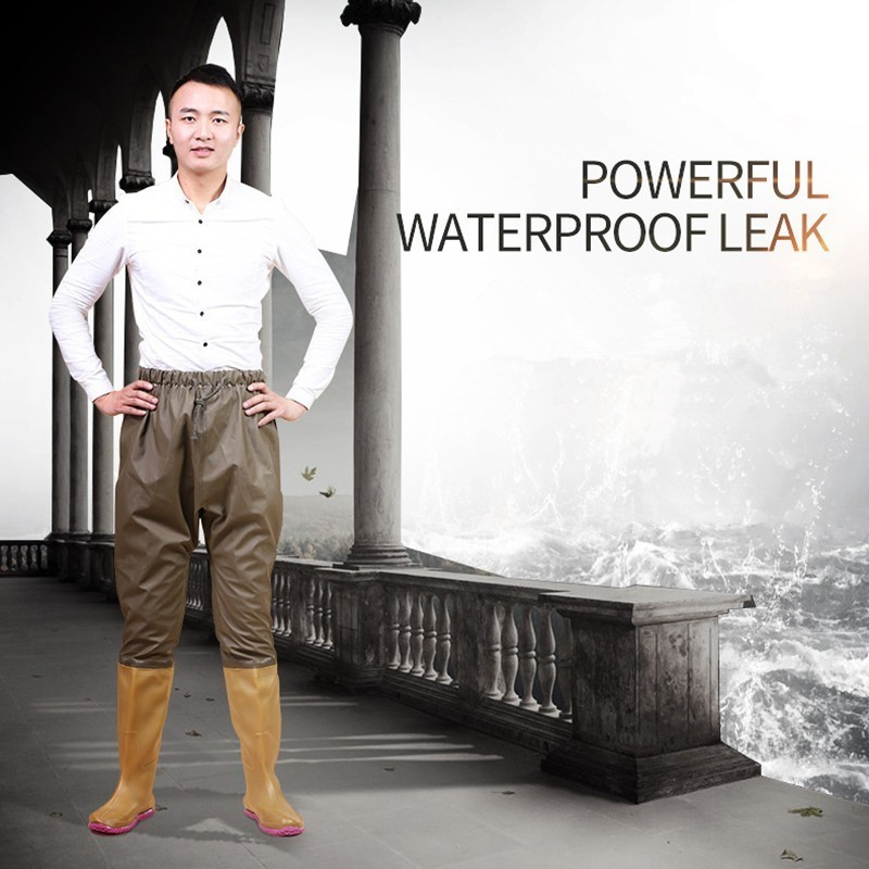 Knit Cloth Breathable Waterproof Fishing Wading Pants Men Women Outdoor Hunting Catch Fish Wearproof Non-slip Waders Trousers