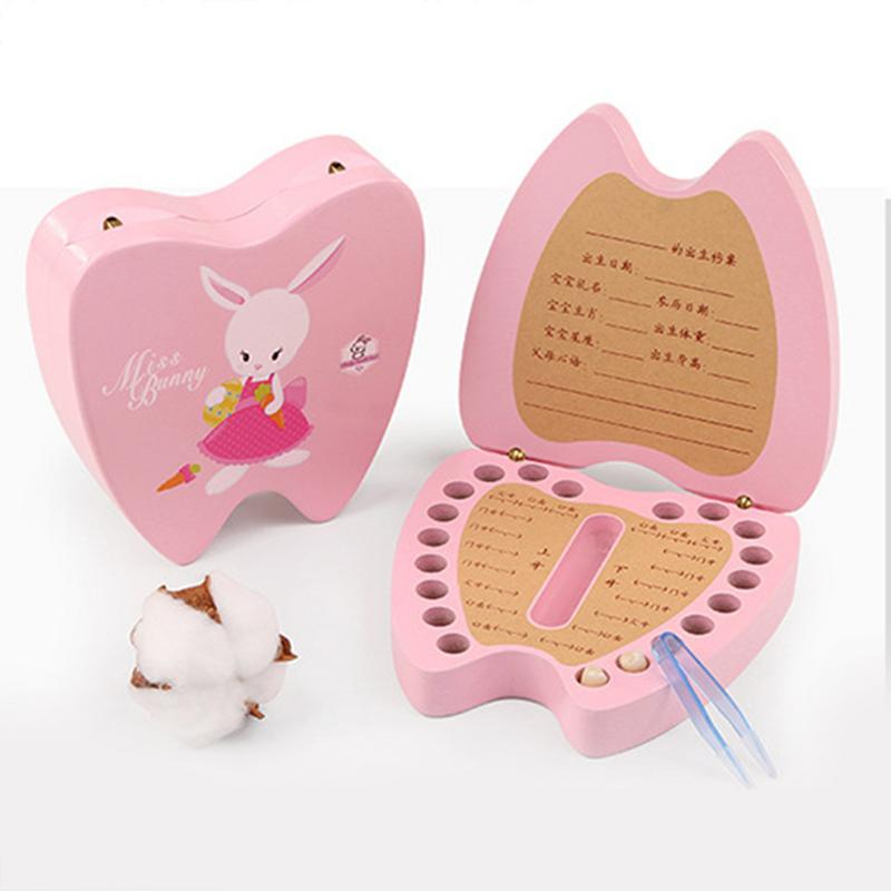 Baby Wood Tooth Box Organizer Milk Teeth Storage Collect Teeth Gift Baby Boy Girl Wood Case Save Milk Teeth Collection Organizer in Baby Teeth Box from Mother Kids