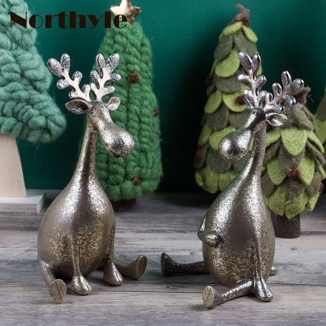 € 28.84 46% de réduction|Véritable Northyle BS113126 cadeau De Noël rennes  de résine figurine de noël décoration vintage art artisanat séance ...