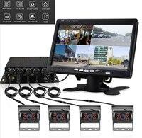 4CH 720 P AHD видео регистратор коробка + 7 автомобильный hd дисплей + 4 шт CCD камера для грузовика автобуса