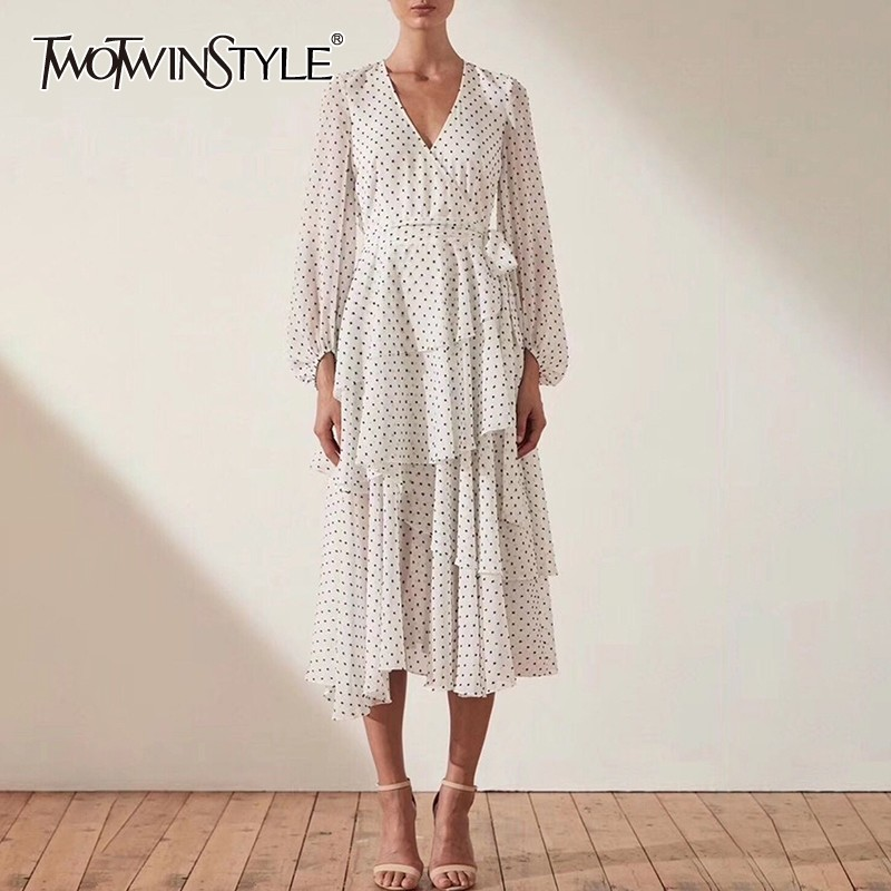 TWOTWINSTYLE Vintage Polka Dot Dress Women V Neck Long Sleeve High Waist Bandages Asymmetrical Midi Dresses