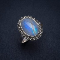 Natural Rainbow Moonstone Handmade Unique 925 Sterling Silver Ring 8.25 A4194
