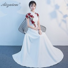 2019 Fashion Sexy Evening Dress Long Oriental Wedding Gowns Red Qipao Formal chinese Dresses Cheongsam Etiquette