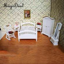 European 1/12 White Wooden Bed Wardrobe Chair Table Mirror Model Furniture for Dolls House Bedroom Decor Accessories 10 Pieces(China)