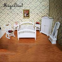 European 1/12 White Wooden Bed Wardrobe Chair Table Mirror Model Furniture for Dolls House Bedroom Decor Accessories 10 Pieces
