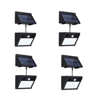 4 Pack Black Split Solar Lights Outdoor Waterproof Motion Sensor Wall Light 20 Led With Auto On/Off For Patio Deck Yard Garden