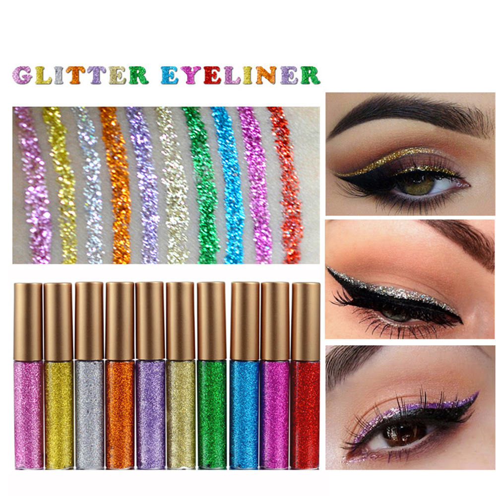 10PCS Glitter Liquid Eyeliner 10 Colors Long Lasting Waterproof Sparkling Eyeliner in Eyeliner from Beauty Health