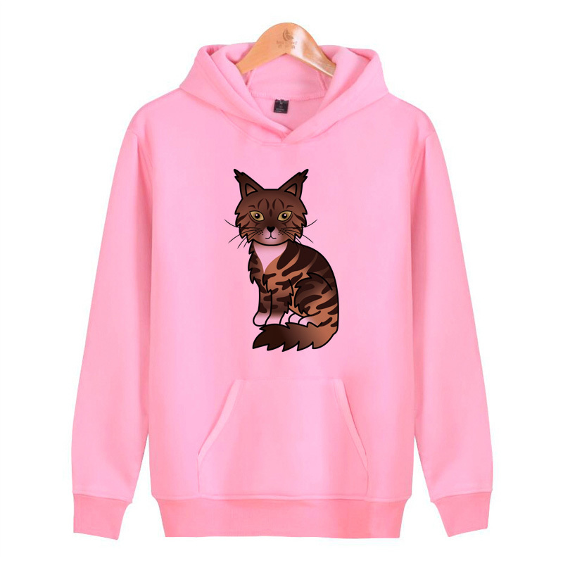 Maine Coon Cats Hoodies Sweatshirts Streetwear Men/women Hip Homme Harajuku Pullover Hop Hoddies Male J4137