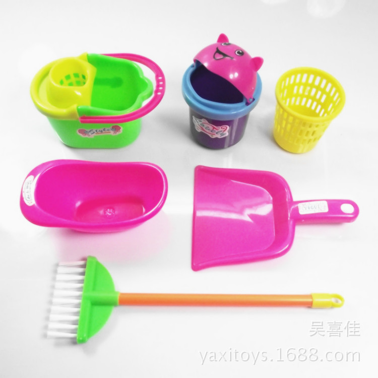 Six-piece Cleaning Tool Set Children's Play House Mini Toy Ware Desktop Game Role-playing Cleaning Tool