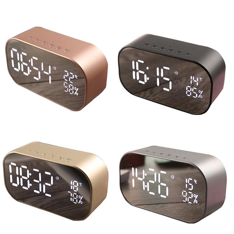 AUGKUN LED Alarm Clock with FM Radio wireless Bluetooth Speaker Support Aux TF USB Music Player Wireless Car Subwoofer S2