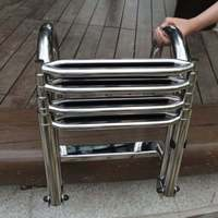 304 Stainless Steel Swimming Pool 4 Step Ladder Dock Boat Ladder Decorative Hardware Heavy Duty Swimming Pool Accessory Foldable