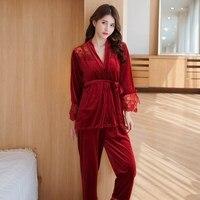 Autumn Women Elegant Velour Pajamas Set Coat Vest Pants 3Pieces Sleepwear V Neck Sexy Lace Patchwork Pajamas Set