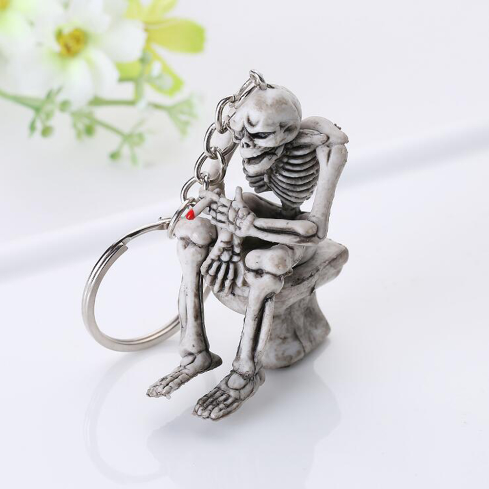 Fashion Key Chain Cool PVC Creative Skull Toilet Purse Bag Rubber Gifts Key Ring Funny Punk Biker Key Chain Skeleton Jewelry