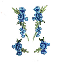 New color ethnic embroidery collar flower underwear clothing accessories sewing cloth stickers rose