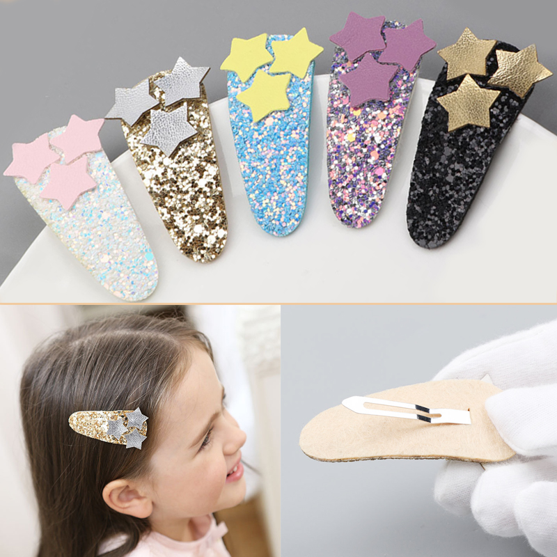 LNRRABC Kawaii shiny candy color children hairpin stars design flash fashion colorful dark buckle  hair grips bb clips kids