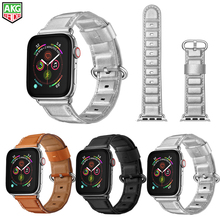цена на Newest Genuine Leather Bamboo Style Watch Band Strap For Apple Watch Series 4 3 2 1 iWatch Watchbands Wrist Straps 38-40-42-44mm