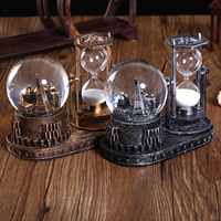 Creative Tower Miniature Hourglass Flashing Crystal Ball Student Birthday Gifts Home Table Decoration Retro Hourglass Figurines