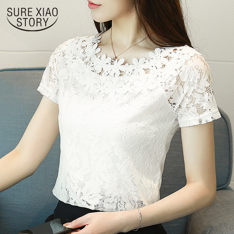 New 2019 Summer Short Sleeve Lace Women Shirt Blouse Fashion Hollow Lace Clothing Sweet White Women's Tops Blusas D698 30