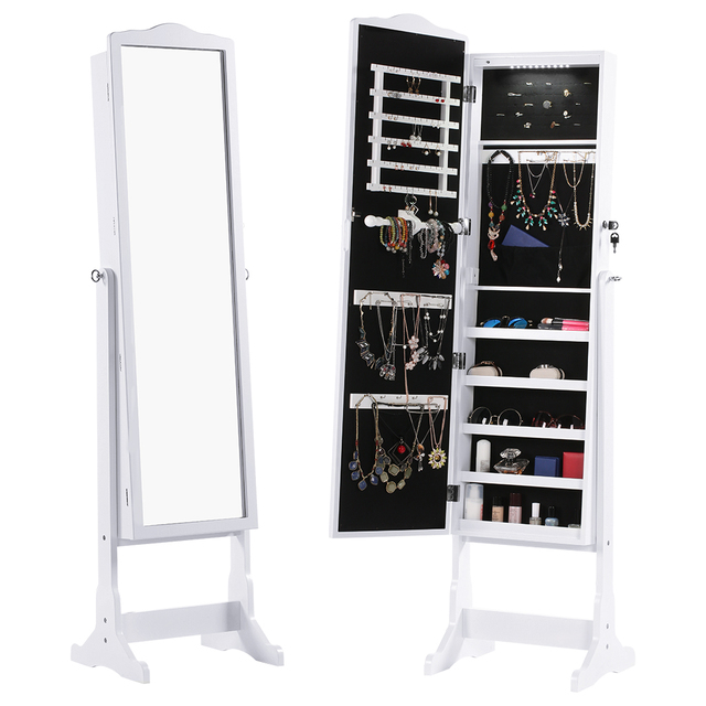 Attirant LANGRIA Jewelry Cabinet Free Standing Lockable Full Length Mirrored Jewelry  Armoire With LED Lights Angle Adjustable Organizer