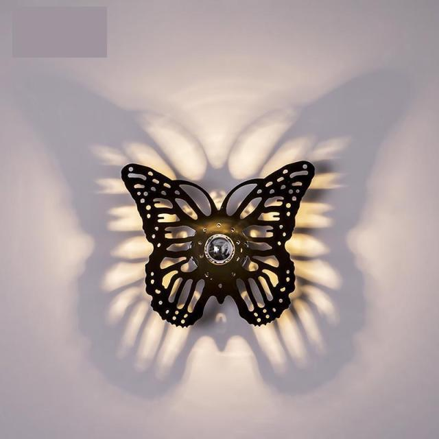 Novelty Led Butterfly Wall Sconce Shadow Wall Lamp Laser Engraving Art Deco Studio Salon Living room Museum Hallway porch light