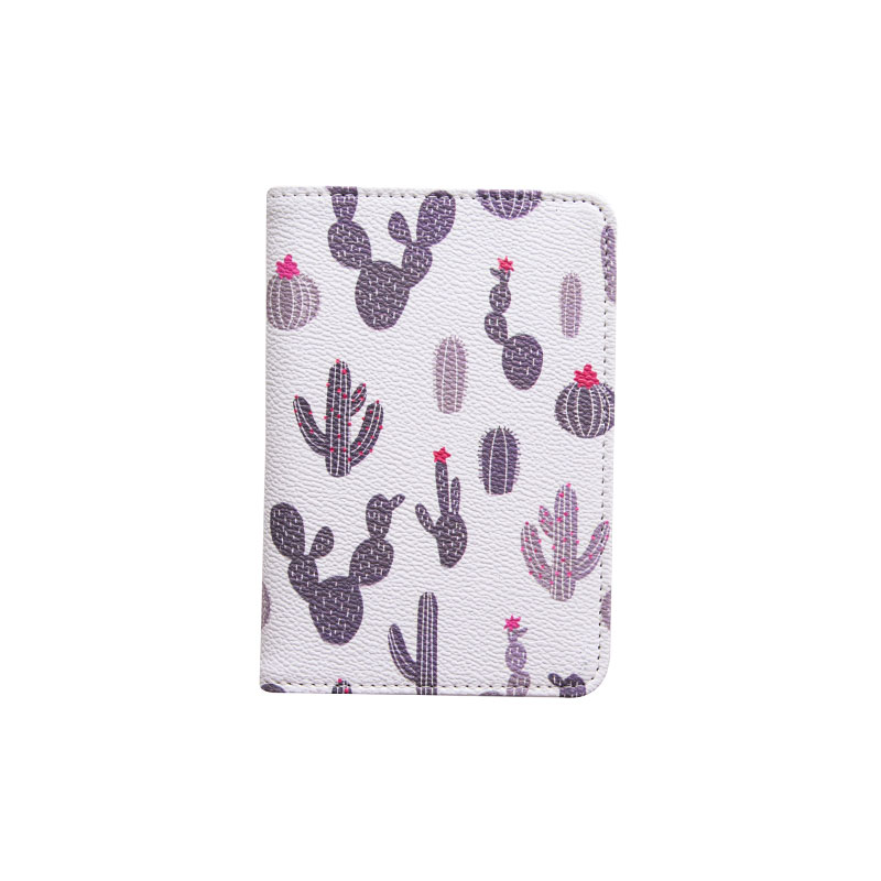 Fashion Cactus Popular 2018 Short Passport Cover Unisex Travel Accessories PU Passport Protector With Bank ID Card Holder