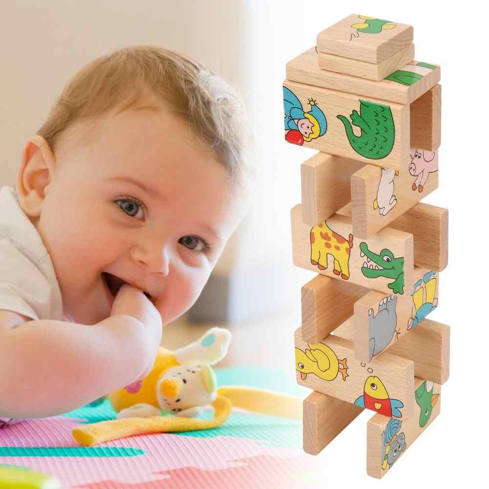 15 шт./компл. деревянное домино блоки цветные детские игры образовательная игра игрушки раннего обучения домино игры для ребенка подарок на день рождения