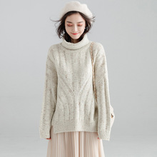 Korean loose hooded turtleneck thick sweater female spring and autumn feminino pullover women Y8011