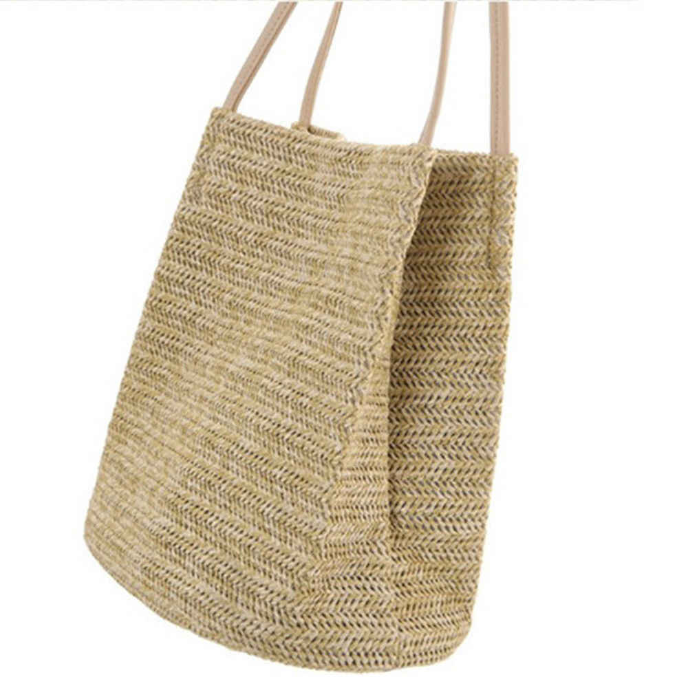 Women Girls Straw Bag Woven Round Handbag Purse Crossbody Beach Summer Bags