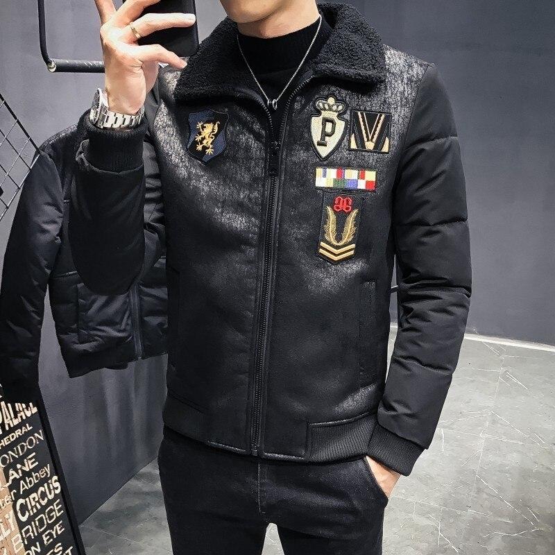 Модные толстые черные пилот зимние пальто мужские маркировки курточка бомбер 2018 Мужская Chaqueta Homre Slim Fit Ceket Mont Erkek мотоцикл