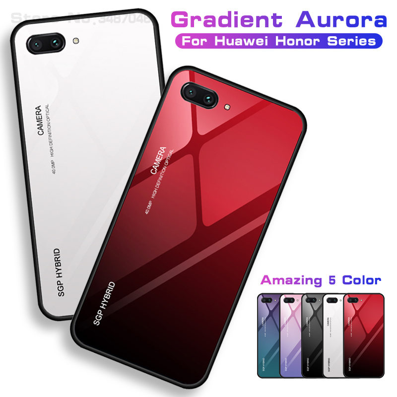 Honor10 Honor9 Gradient Tempered Glass <font><b>Case</b></font> on For Huawei <font><b>Honor</b></font> 9 8 Lite Note 10 7a 7c Pro 7x x8 Honer <font><b>8x</b></font> <font><b>max</b></font> <font><b>Case</b></font> Shell Cover image