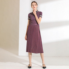 High-end French dress set 19 spring and summer new temperament knitted t-shirt skirts European American womens 1953
