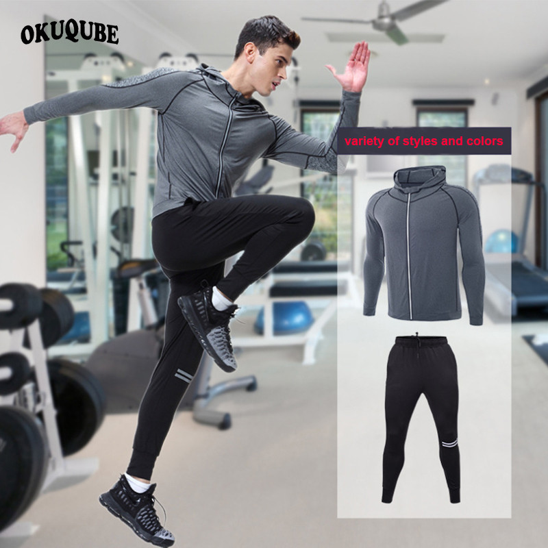 Tracksuits Sportswear Men Autumn Winter Pro Training Suit Long Sleeve Sweatshirt +Sweatpants Hoodie Sports Suit Male Running Set color block kangaroo pocket hoodie with sweatpants