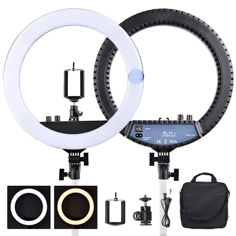 Fosoto RL-12II 14 приглушаемая Фотографическая свет двухцветный 3200-5600 к 240 светодиодов макияж кольцо свет лампы для камеры фотостудия телефон