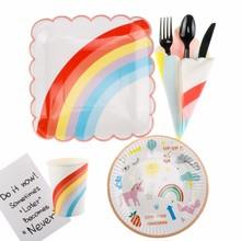 90Pcs New Year Unicorn Party Cartoon Rainbow Disposable Tableware Set Straws Cake Plates Cups Napkins Birthday Decorations