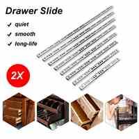 """2Pcs 8""""-16"""" 17mm Ball Bearing Drawer Slides Furniture Slide Steel Ball Bearing Slides Keyboard Cabinet Cupboard Drawer Runners"""