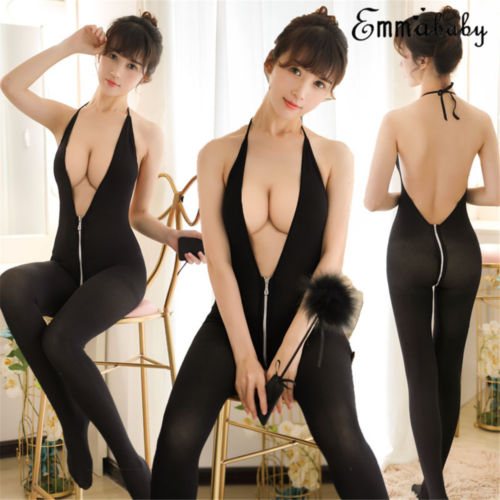 Women Sexy Hanging Neck Backless Deep V Neck Zipper Jumpsuits Playsuits Bodysuits One Size Solid Black Jumpsuit