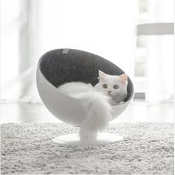 Katze Boss Faser Spinning Pet Nest Weiß Interactive Dreh Bett Welpen Cave Schlaf Matte Pad Nest Kennel Hohe qualität Haustiere liefert