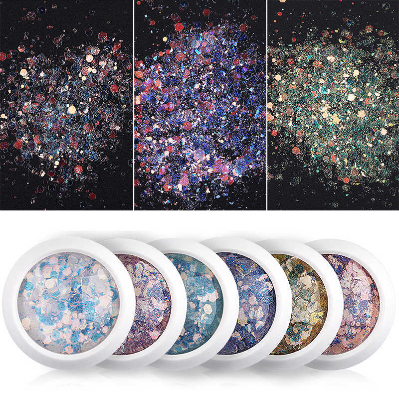 Fashion Nail Glitter Flakes Nail Art Decorations Manicure Colorful Sequins Popular 3D Nail Powder