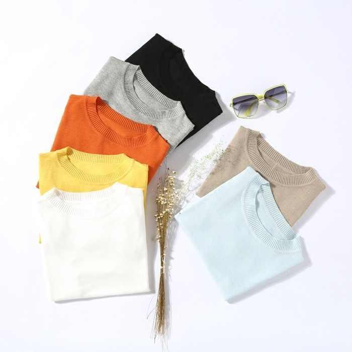 С короткими рукавами, вязаные свитер женский узкий короткий дизайн с О-образным вырезом пуловеры 7 цветов S-2XL 2019 новое поступление