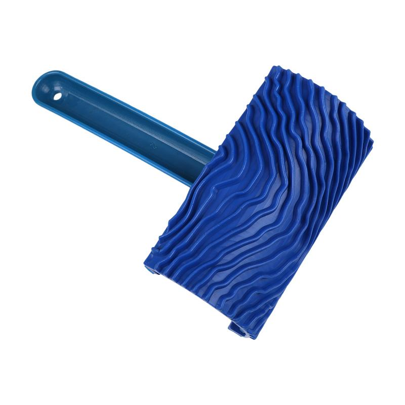 Blue Wood Grain Tool With Handle Empaistic Rubber Graining Pattern Stamp For Wall Painting DIY Decoration