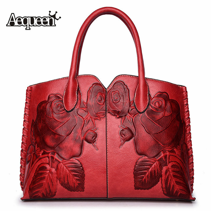 Crossbody-Bags Embossed Ethnic-Flower Women Handbags Genuine-Leather Totes Messneger-Bag