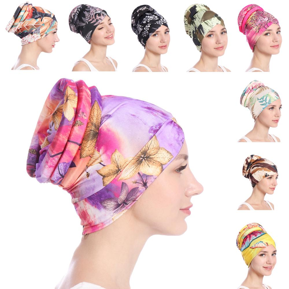 Fashion Women Muslim Hair Loss Cap Flower Print Islamic Islam Turban Head Wrap Cover Cancer Hat Chemo Cap Bonnet Beanie Skullies