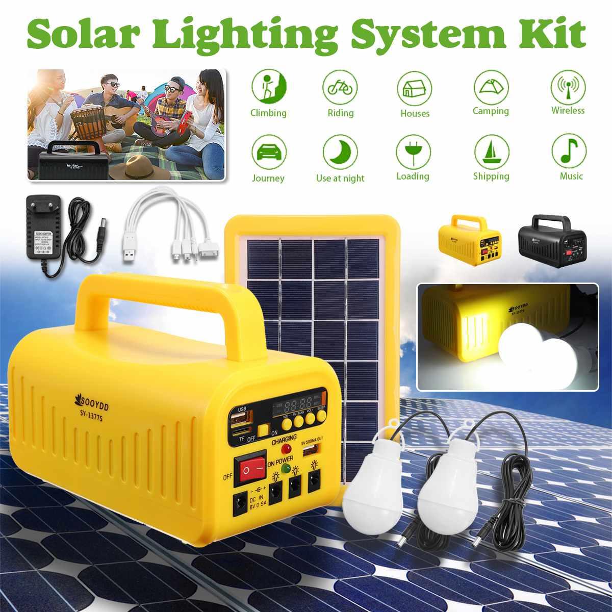 Panneau solaire portable Système 3 W 6 V Solaire chargeur de batterie + 4500 mAh Générateur + 2 * lumière led 5 V chargeur usb Éclairage radio Musique