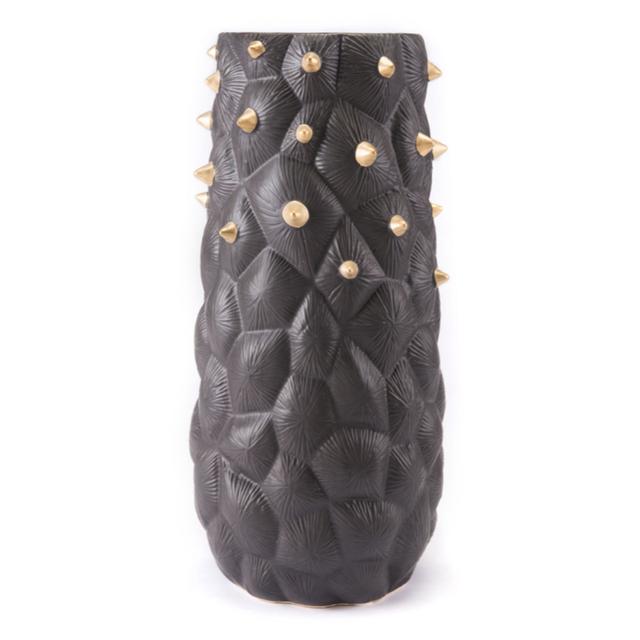 Black Cactus Vase Large Black And Gold