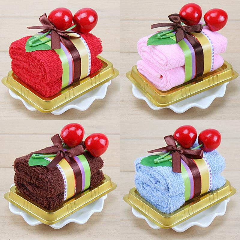 Cotton Towel Cherry Cake Sandwich Swiss Roll Shaped Washcloth Gifts Wedding Valentine's Day Supplies