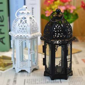 Lantern Candle-Holder Glass Transparent European-Style Stick Iron High-Quality