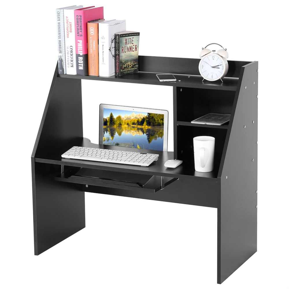 Wooden Storage Shelf Computer Laptop Study Desk Table Organizer for Dormitory Bed/ Carpet Black/White 2019 Hot